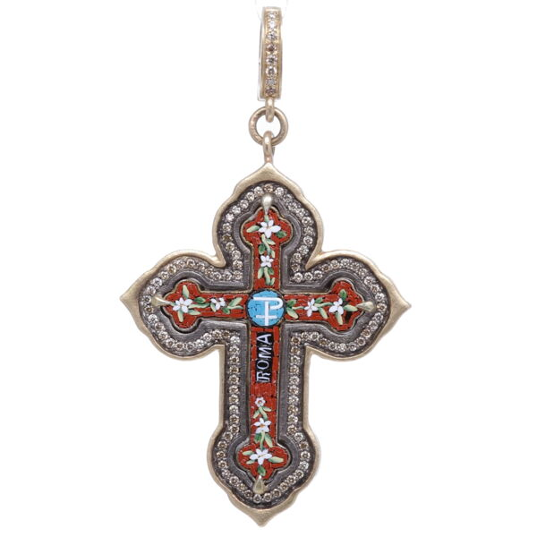 Closeup photo of Italian Grand Tour Red Chi Rho Micro Mosaic Cross