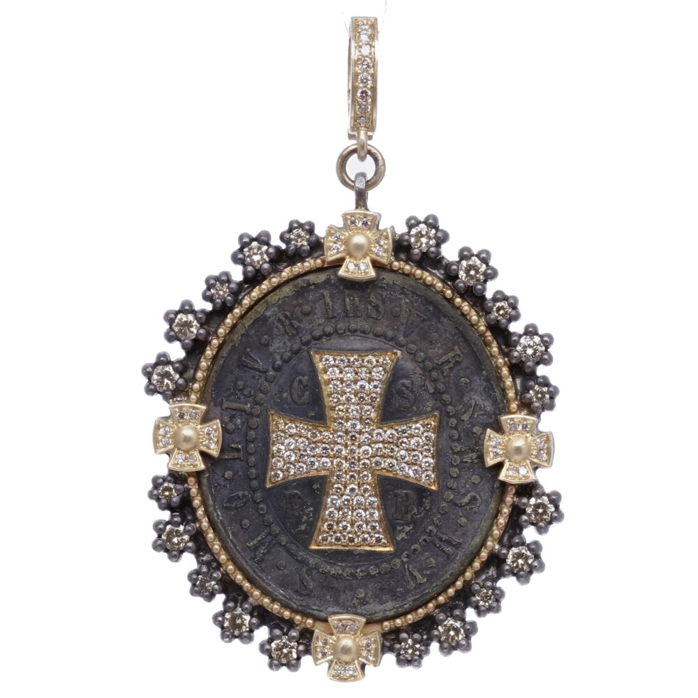 St. Benedict Diamond Shield Pendant