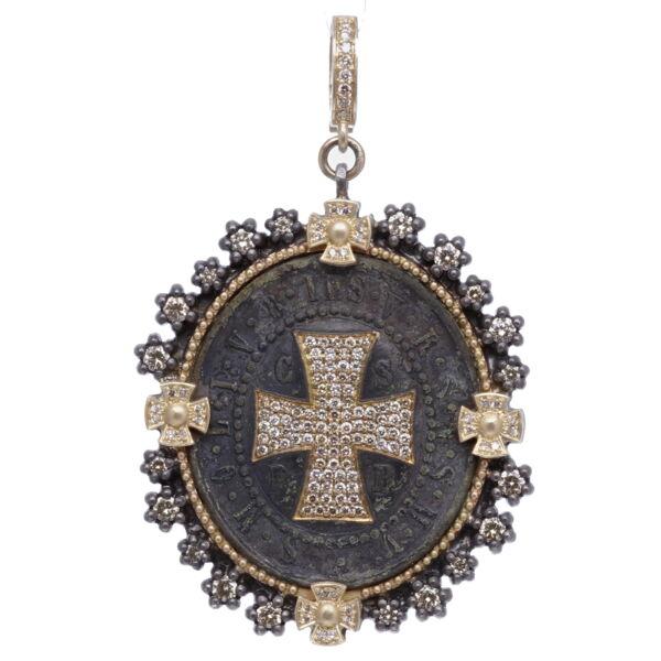 Closeup photo of St. Benedict Diamond Shield Pendant