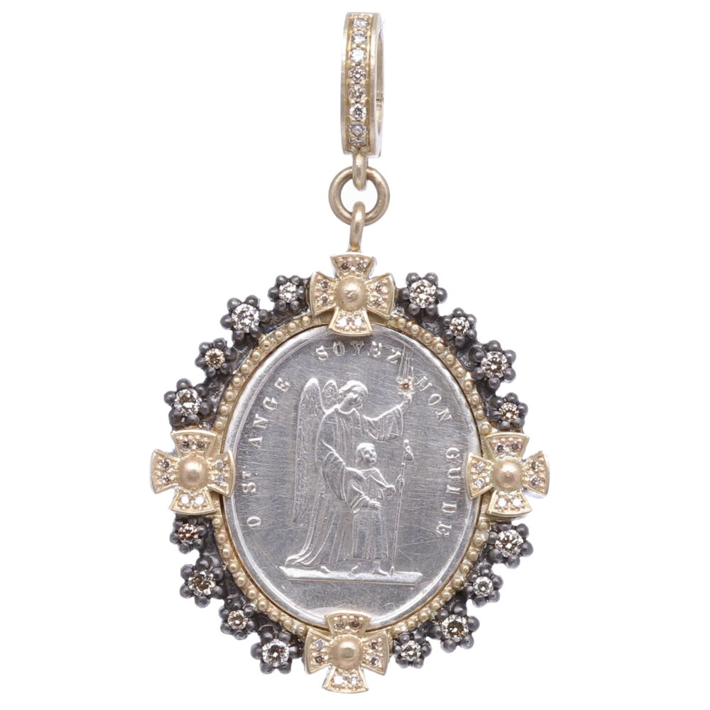 French Silver Guardian Angel Pendant