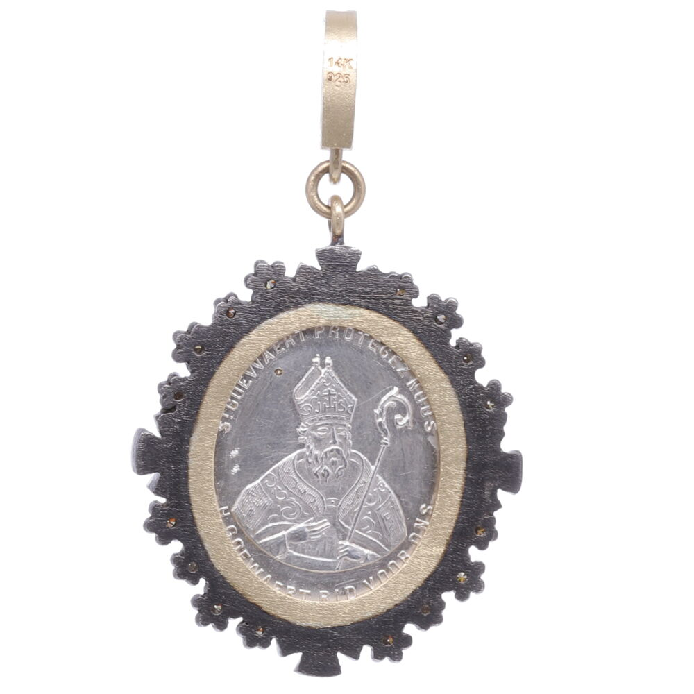 Image 2 for French Silver Guardian Angel Pendant