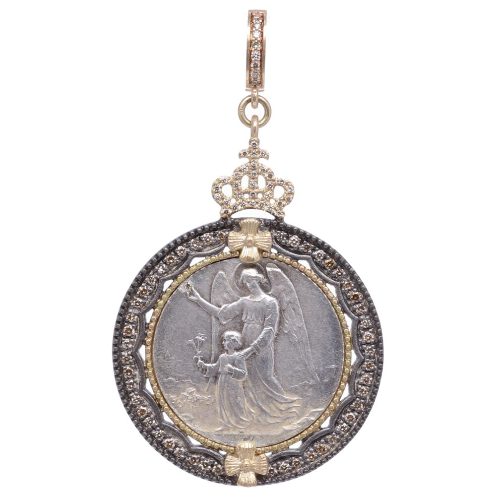 European Guardian Angel Pendant with St. Joseph