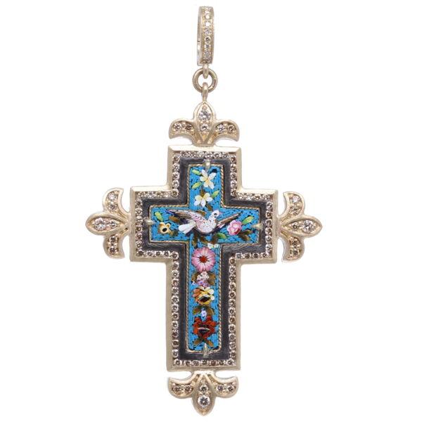 Closeup photo of Italian Grand Tour Turquoise Mosaic Cross Pendant