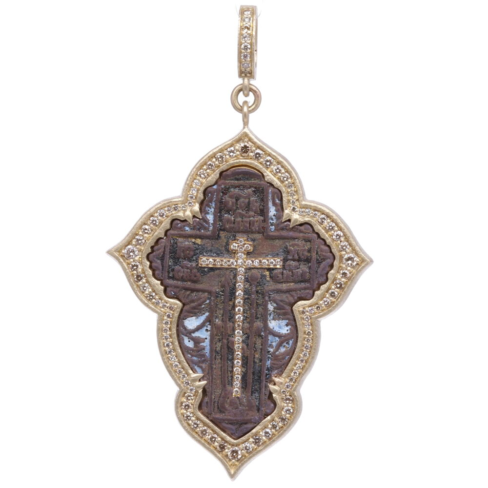 Large Old Believer Cross with Enamel Pendant
