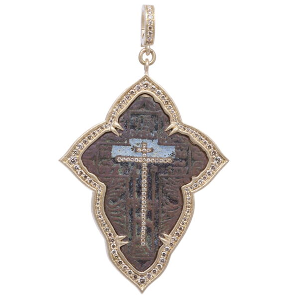 Closeup photo of Large Old Believers Cross with Enamel Pendant
