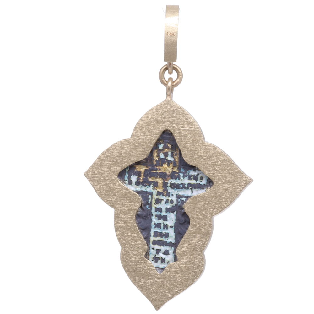 Image 2 for Small Old Believers Cross with Enamel Pendant