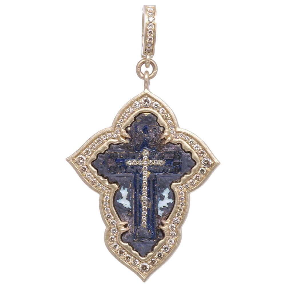 Small Old Believers Cross with Enamel Pendant