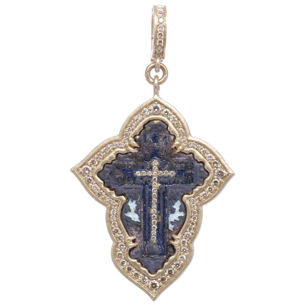 Closeup photo of Small Old Believers Cross with Enamel Pendant