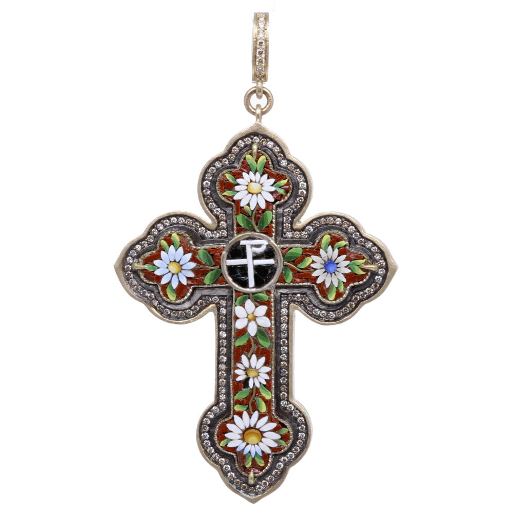 Italian Grand Tour Chi Rho Micro Mosaic Cross Pendant