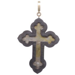 Closeup photo of Italian Grand Tour Chi Rho Micro Mosaic Cross Pendant