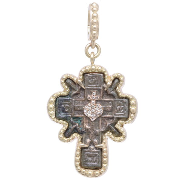 Closeup photo of Old Believers Cross with a Diamond Heart