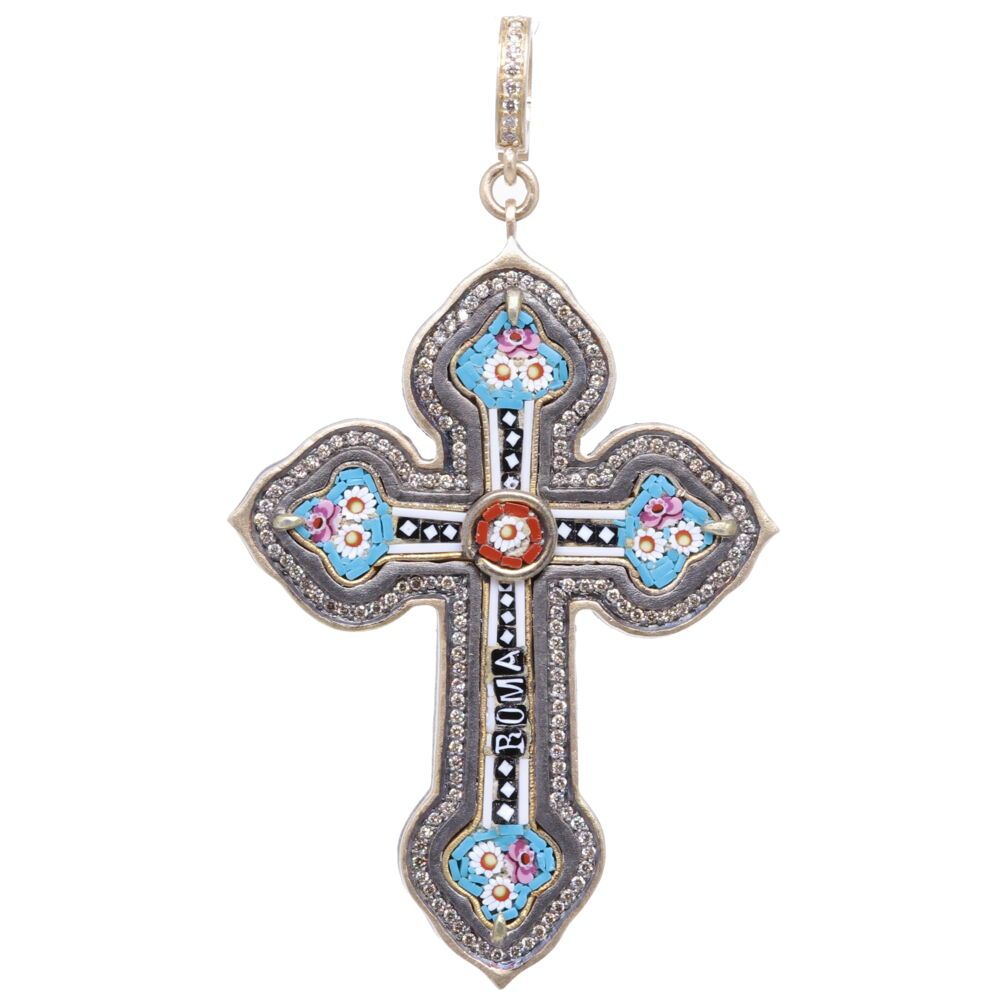 Italian Grand Tour Roma Micro Mosaic Cross Pendant