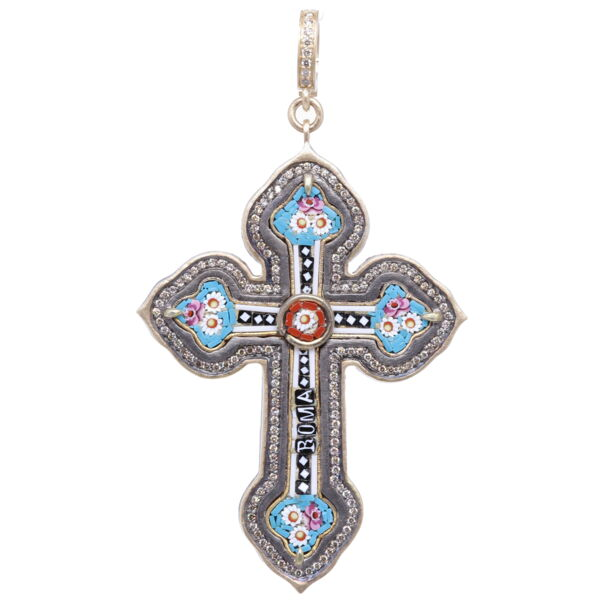 Closeup photo of Italian Grand Tour Roma Micro Mosaic Cross Pendant