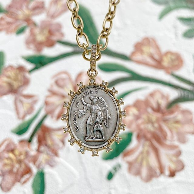 Image 2 for Antique French Guardian Angel Pendant