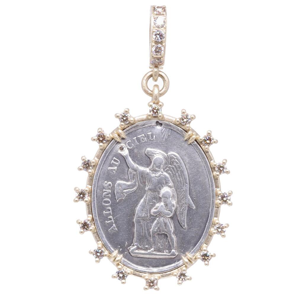 Antique French Guardian Angel Pendant