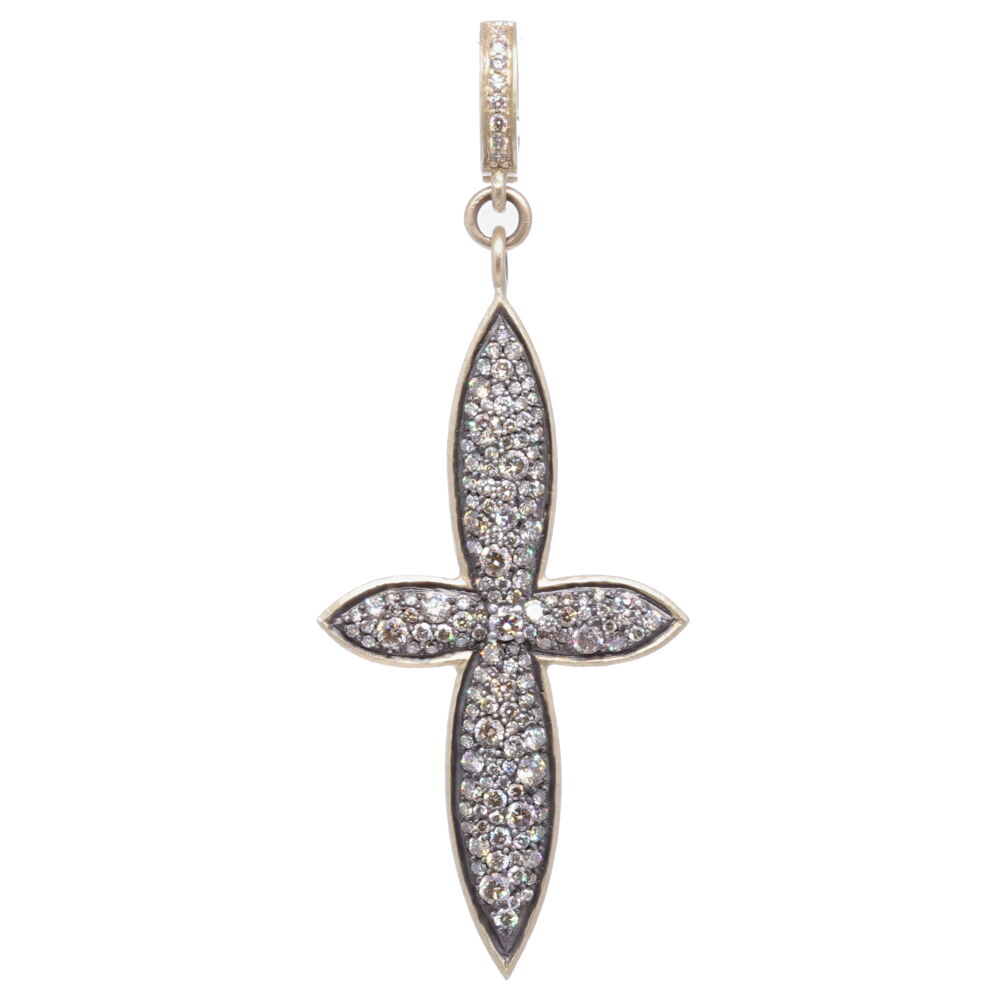 Large Classic Pave Diamond Cross Pendant