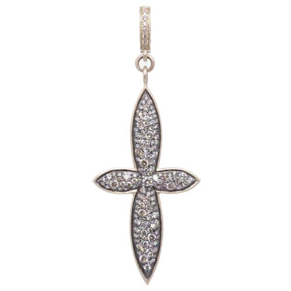 Closeup photo of Large Classic Pave Diamond Cross Pendant