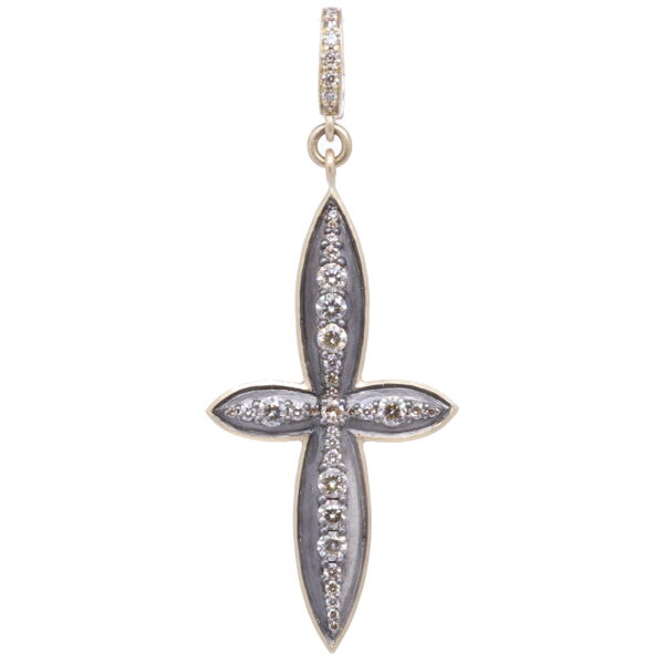 Closeup photo of Large Classic Diamond Cross Pendant