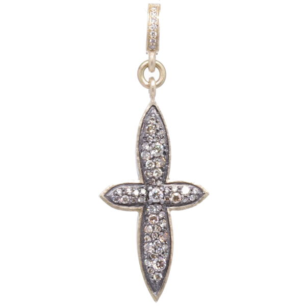 Closeup photo of Small Classic Pave Diamond Cross Pendant