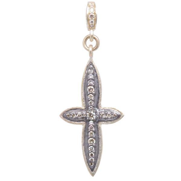 Closeup photo of Small Classic Diamond Cross Pendant