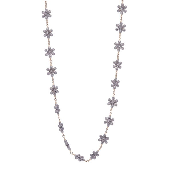 Closeup photo of Diamond Floral Necklace 21""