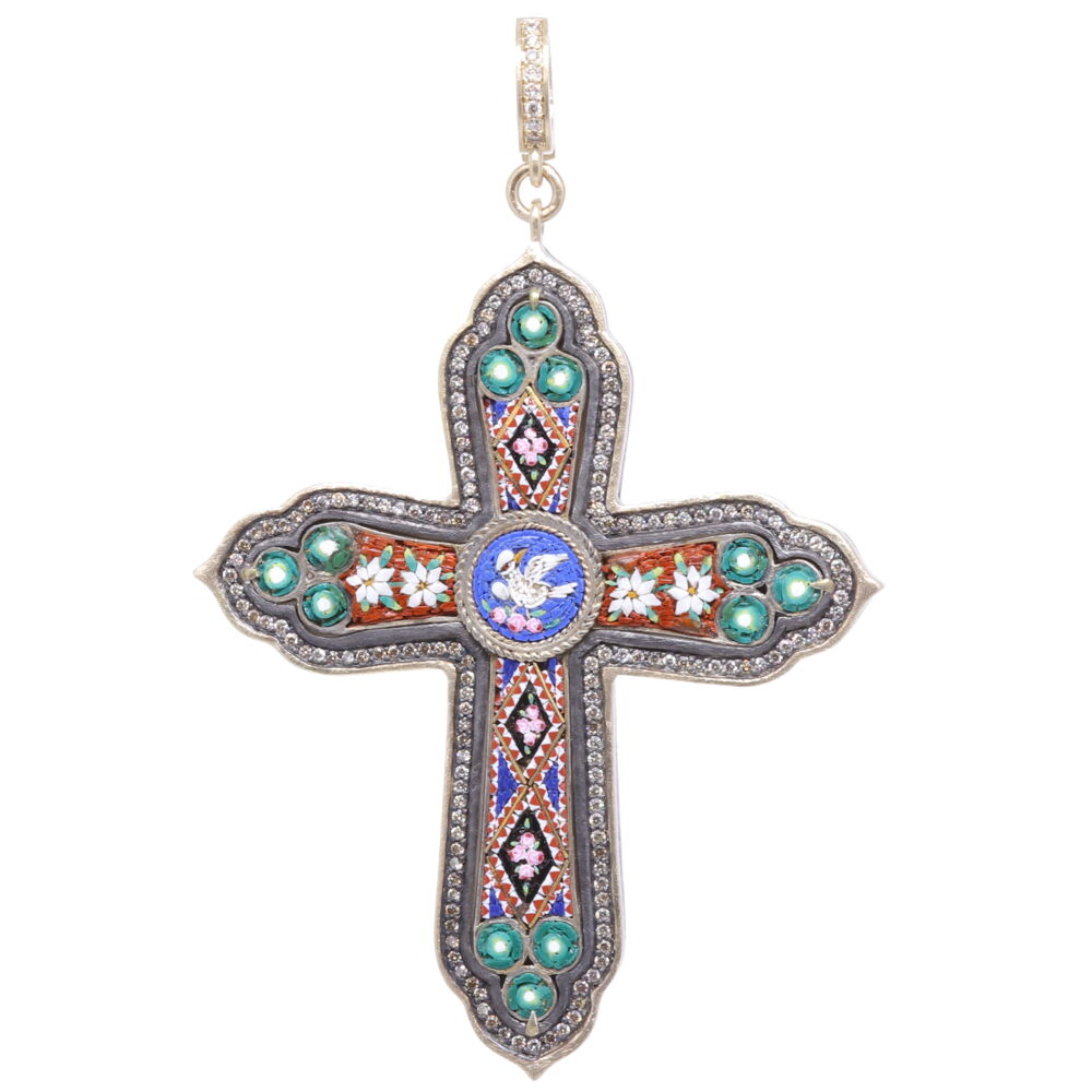 Italian Grand Tour Micro Mosaic Cross Pendant