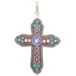 Closeup photo of Italian Grand Tour Micro Mosaic Cross Pendant