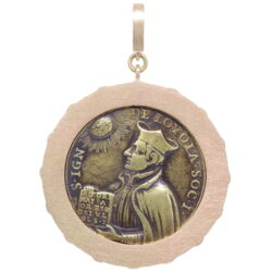 Closeup photo of The Sacred Heart of Jesus and Immaculate Heart of Mary Pendant