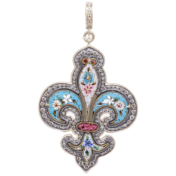 Closeup photo of Fleur De Lis Grand Tour Micro Mosaic Pendant