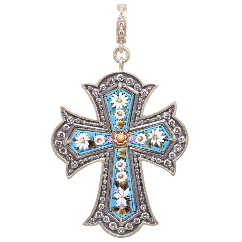Turquoise Italian Grand Tour Micro Mosaic Cross