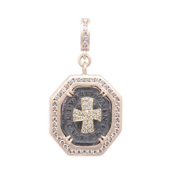 Closeup photo of 14k Small Octagonal St. Benedict Medal w/ Diamond Cross Inlay