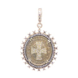 Closeup photo of 14k Oval St. Benedict Medal with Diamond Cross Inlay
