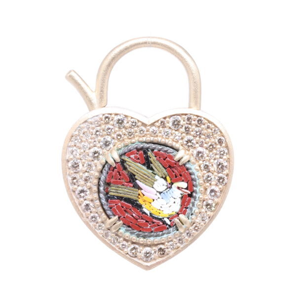 Closeup photo of 14k Micro Mosaic Dove Padlock