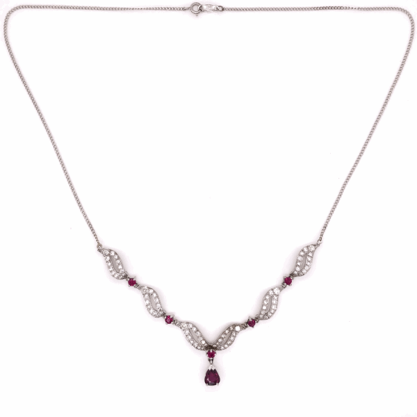Closeup photo of 18/14k white gold 1950's Ruby and diamond necklace