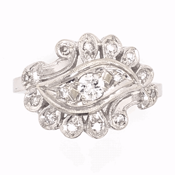 Closeup photo of 14K White Gold Diamond Spray Ring .29tcw, c1950's, s6.75