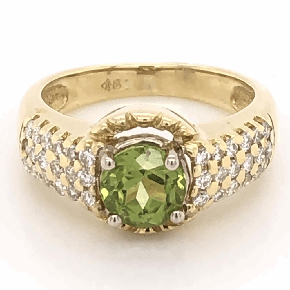 18K Yellow Gold 1ct Round Peridot Ring 36 diamonds .28tcw, 6.1g, s5.25
