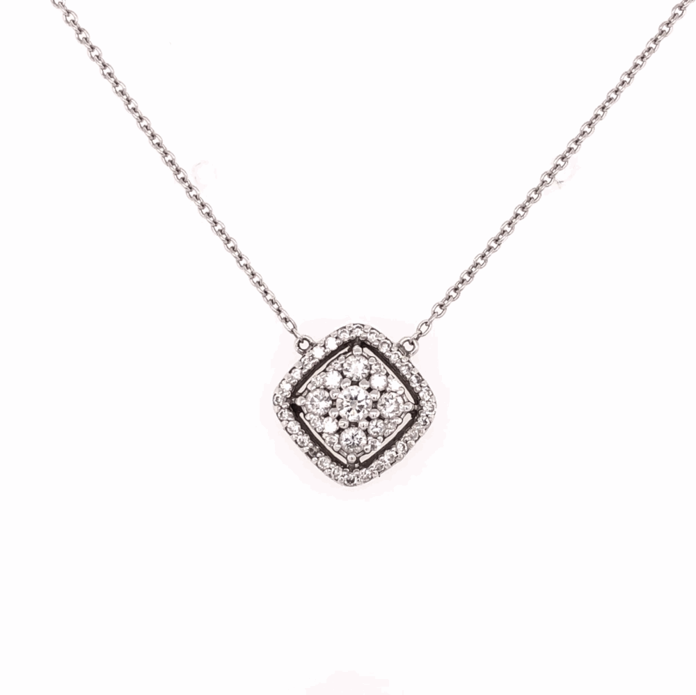 14K White Gold Diamond Pave Pendant .20tcw 16""