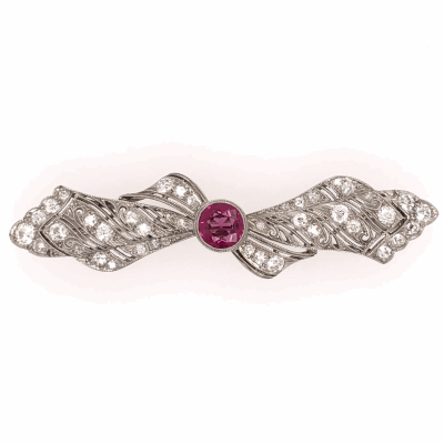 "Closeup photo of Platinum Art Deco Bow Brooch 1.10ct Rubellite Tourmaline & 40 OEC Diamonds 2.00tcw 2.25"""