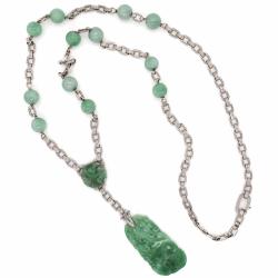 """Closeup photo of Platinum & 14K White Gold Jadeite Jade Art Deco Necklace 45.0tcw, 21.5"""", 32.80g, c1920's"""