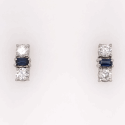"Closeup photo of 14K White Gold Sapphire & Diamond Bar Earrings, 1.10tcw Dia, 1.00tcw Sapphires, 3.7g, .65"" tall"