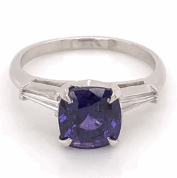Closeup photo of Platinum Classic Ring 2.84ct Cushion Cut Deep Purple Sapphire 2 tapered Baguette Diamonds .24tcw, size 6
