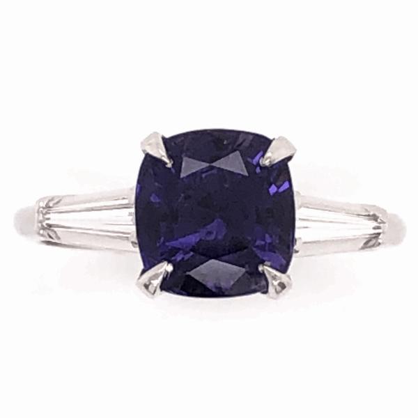 Closeup photo of Platinum Classic Ring 2.84ct Cushion Cut Deep Purple Sapphire 2 tapered Baguette Diamonds .24tcw, size 6