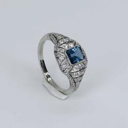 Closeup photo of Platinum Art Deco .69ct Emerald Cut Aquamarine Ring .73tcw Diamonds