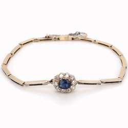 Closeup photo of 14K YG Victorian Link Bracelet .60ct Blue Sapphire & .65tcw diamonds, 6.5""