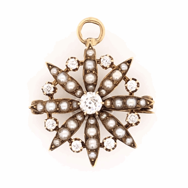 Closeup photo of 14K YG Victorian Brooch & Pendant 9 diamonds .50tcw