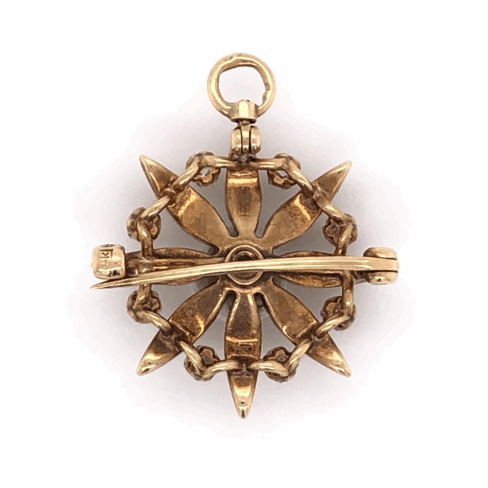 Image 2 for 14K YG Victorian Brooch & Pendant 9 diamonds .50tcw