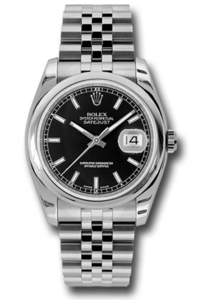 Closeup photo of Rolex Style No:  116200 bksj Rolex Oyster Perpetual Datejust Watches  36mm stainless steel case, domed bezel, black dial, index hour markers, and Jubilee bracelet