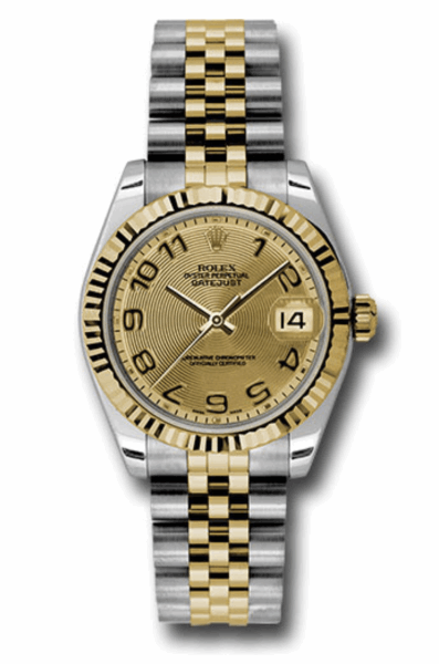Closeup photo of 31mm stainless steel case, 18K yellow gold fluted bezel, champagne concentric circle dial, Arabic numerals, and stainless steel and 18K yellow gold Jubilee bracelet.