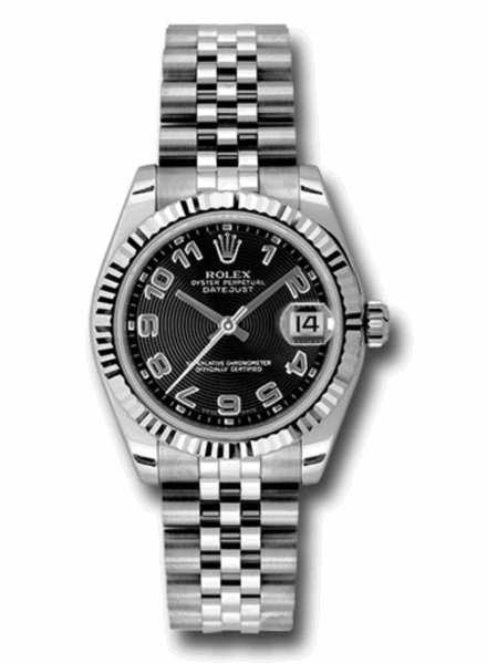 Closeup photo of 31mm stainless steel case, 18k white gold fluted bezel, black concentric circle dial, Arabic numerals, and Jubilee bracelet.
