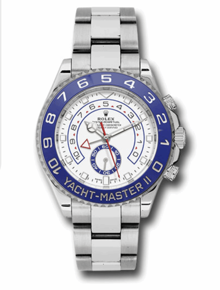 Rolex with 44mm stainless steel case, 90 degree rotatable Command bezel with blue Cerachrom insert, matt white dial with blue lacquer small seconds counter
